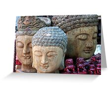 Three Buddha Heads, Stanley Market, Hong Kong Greeting Card