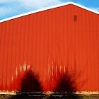 Red Building With Two Trees by Lisa Diamond