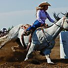 Barrel Racer Cutting It Tight by Bob Christopher