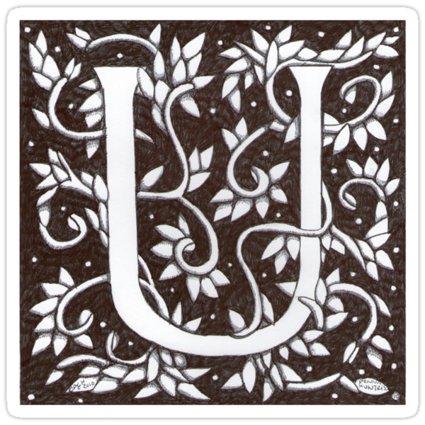 William Morris Letter U Sticker by Donna Huntriss