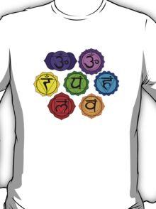 YOGA REIKI PLAIN SEVEN CHAKRA SYMBOLS TEMPLATE T-Shirt