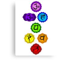 Yoga Reiki seven chakras symbols vertical template Canvas Print