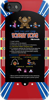 Donkey Kong Cocktail Instruction Card by Я M