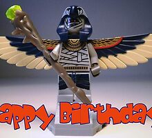 LEGO® Pharaoh's Quest Flying Mummy Minifigure with Wings & Custom Magical Staff, Happy Birthday Greeting Card by 'Customize My Minifig' by Chillee