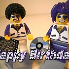Happy Birthday Greeting Card DJ Clubbing Tru & his Dad Disco Stu (with CD and Brick Fever Record) LEGO® Minifigs by Chillee