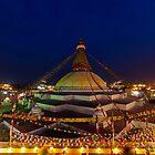 Buddhist Stupa at Dusk by Om Yadav