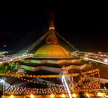 Zooming lights at Bouddha Stupa by Om Yadav