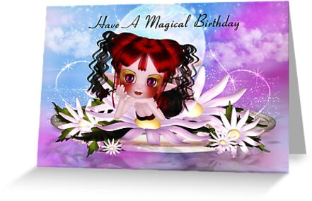 Daisy the water fairy birthday greeting card by Moonlake