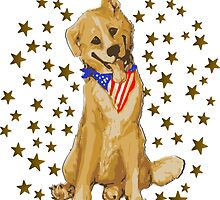 Patriotic Pup With Flag Bandanna by Muninn