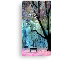 A bench in the park Canvas Print