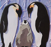 Cut Paper Animal Collage: Penguins by chillchey