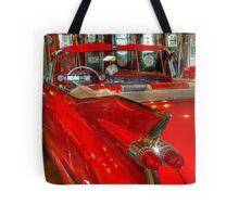 1959 Cadillac At The Pumps Tote Bag
