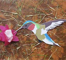 Cut Paper Animal Collage: Hummingbird by chillchey