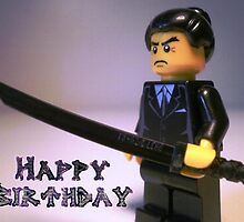 Happy Birthday Greeting Card Japanese Yakuza Gokudō Gangster Custom LEGO® Minifigure, by 'Customize My Minifig' by Chillee
