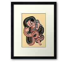 Sagino-ike Heikuro grappling with a huge serpent at the lake of Sayama - Ichiyusai Kuniyoshi  Framed Print