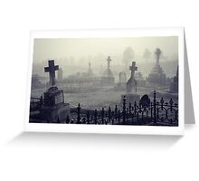 fog in the graveyard Greeting Card