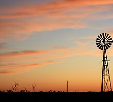 Orange Sky Windmill Silhouette by ROBERTDBROZEK