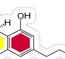 THC Molecules (cannabis marijuana) Sticker