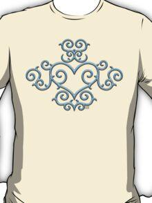 Blue Glow Victorian Tribal Heart T-Shirt