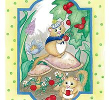 MICE COLLECTING BERRIES by Lynn Wright