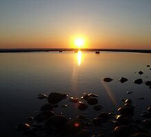 Cleveleys sunset over rockpool by Chris Pilcher