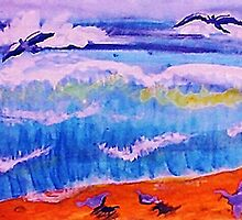 Sea gulls and the waves, watercolor by Anna  Lewis