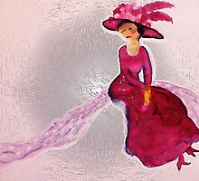 Lady in red with feather hat, watercolor by Anna  Lewis