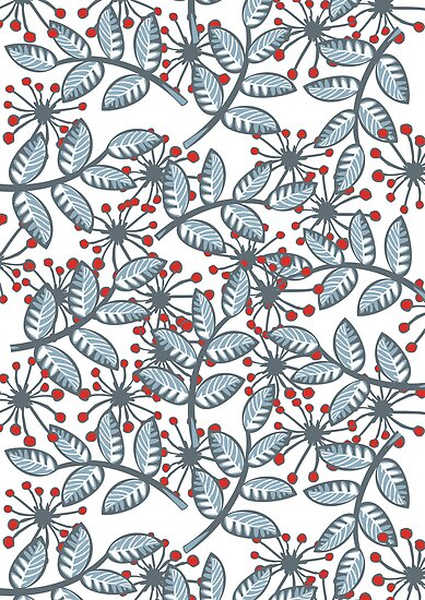 red flowers & blue leaves on white by demonique