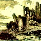 Caerphilly Castle, South Wales before restoration by Dennis Melling
