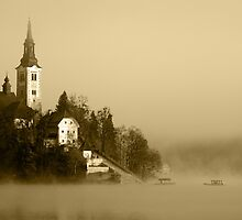 Misty Lake Bled in Sepia by Ian Middleton
