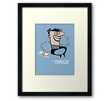 Le Bongo: Beatnik playing the bongos cartoon Framed Print