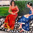 2 Women Having Lunch in Park by Ashley Huston