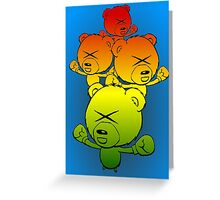 Boxing Teddy Bears: cute cartoon drawing with colorful pizazz Greeting Card