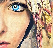 Blue Eye classic digital watercolor portrait painting by Przemysław Bródka