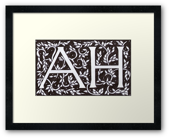 William Morris Inspired AH Monogram by Donna Huntriss