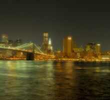 Brooklyn & Manhanttan Bridges Panorama at Night (Polaroid) by André Rizzotti
