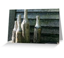 5 Bottles of Wood on the Wall Greeting Card