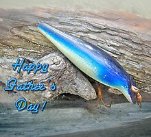Fathers Day Greeting Card - Vintage Floyd Roman Nike Fishing Lure by MotherNature