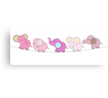 5 Pink Elephants Canvas Print