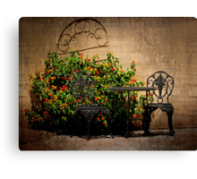 Table and Chairs in Black With Flowers Canvas Print