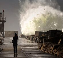 Newcastle Breakwall - Under Nobbys by Tam  Locke