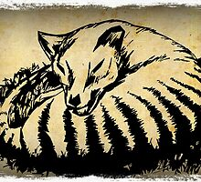 Sleeping Tasmanian Tiger (thylacine) by Cindy Watkins