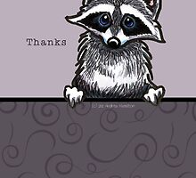 Raccoon Cute Thank You Card by offleashart