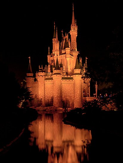Cinderella's Castle - Yellow w/reflection by Mark Fendrick