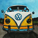 Wee Yellow Camper by samcannonart