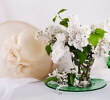 Still life with  white lilac in glass vase by torishaa