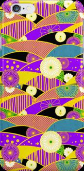 Chiyogami Lavender & Saffron [iPhone / iPod Case & Print] by Damienne Bingham