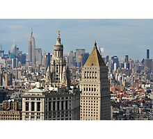 Aerial view of Manhattan buildings from Wall street building rooftop Photographic Print
