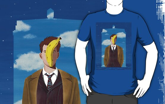 TARDIS and Ten in Magritte style by Umanimo