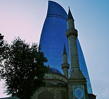 Sunni Mosque & Flame Tower, Baku, Azerbaijan by Lisa Hafey